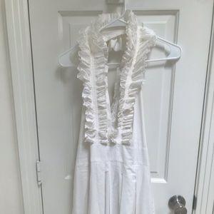 BCBG MAXAZRIA  white ruffle collar backless dress